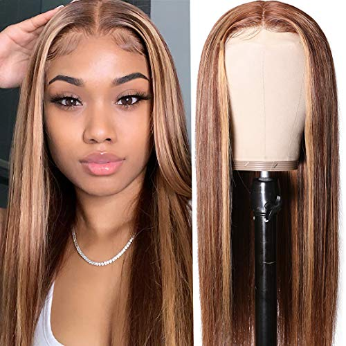 UNice Hair Ombre Blonde Highlight Lace Front Human Hair Wigs for Black Women Brazilian Remy Hair Straight Long 13x4 Lace Front Brown Blonde Mixed Colored Wig Pre Plucked with Baby Hair 18 inch