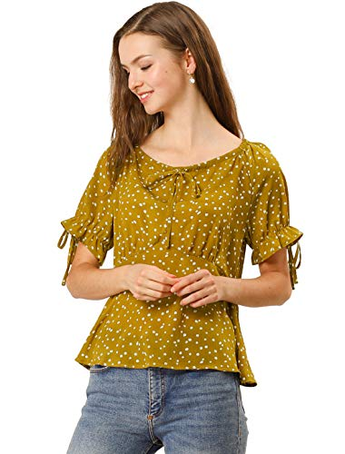 Allegra K Camisa Floral Peplum con Blusa De Lunares Cuello R