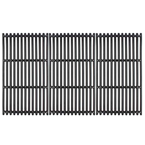 """Hongso 17"""" Porcelain Coated Cast Iron Grill Grates Replacement for Charbroil 463242716, 466242715, 463242715, 466242815 Grill, G533-0009-W1, Lowe' #606682, Walmart # 555179228 (PCB004) 3 Pack"""