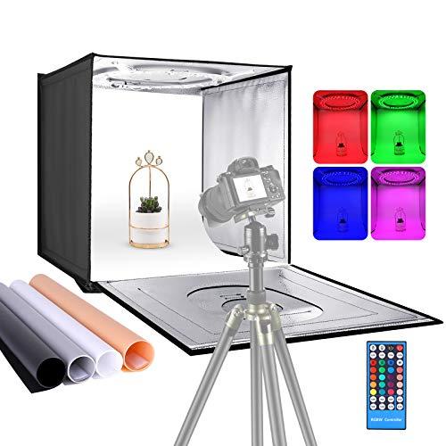 Neewer Light Box Scatola Tenda Fotografica RGB con Telecomando a Infrarossi, 50cm Pieghevole da Tavolo con 72 Bulbi LED RGB, 2-20W, 6000-6500K & 4 Fondali Colorati