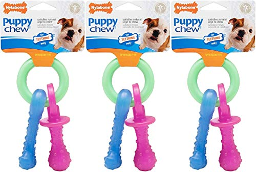Nylabone Just for Puppies Extra Small Pacifier Bone Puppy Dog Teething Chew Toy (3 Pack)