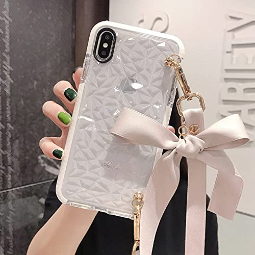 Textura de Diamante Transparente de Lujo con Funda de teléfono con cordón de Lazo para iPhone 11 12 Pro 7 8 Plus XS MAX XR Funda para Samsung S8 S9,3, para iPhone 6 6s