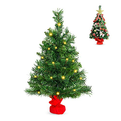 La fete 24'' Prelit Tabletop Artificial Christmas Tree, Mini Premium Spruce Xmas Tree with 35 LED Lights, Stable Cement Base, Battery Operated, for Xmas Home Décor, Kitchen, Dining Table