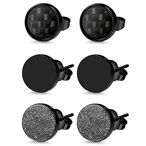 Herren Damen 3 Paare Edelstahl Ohrstecker Set schwarz, OIDEA Punk Rock vintage rund Creolen Ohrringe Set Huggie Piercing Ohr Stecker Durchmesser 6mm 8mm 10mm (6mm)