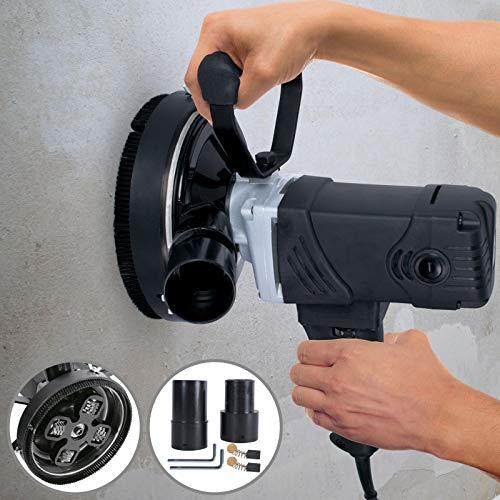 Betonfräse - 1500 W, mit Absaughaube, Drehzahlregelung 1.000–2.000 U/min, Schleiftopf: max. Ø 140 mm - Winkelschleifer, Betonschleifer, Sanierungsfräse, Putzfräse, Fräsmaschine für Beton
