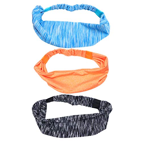 Lurrose Lurrose 3 peças Exercício Ioga Faixa de Cabelo Absorção de Suor Aro de Cabelo Enrolamento de Cabeça Elástico Traje Esportivo para Mulher Garota Senhora (A16-03 Listrado Azul + a16-06 Laranja + A16-02 Listrado Cinza)