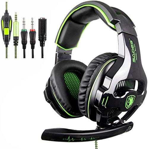 SADES PS4 Gaming Headset Over Ear Stereo Xbox One Gaming Headset Bass Gaming Headphones with Noise Isolation Microphone for New Xbox One PS4 Controller and PC Laptop Phone