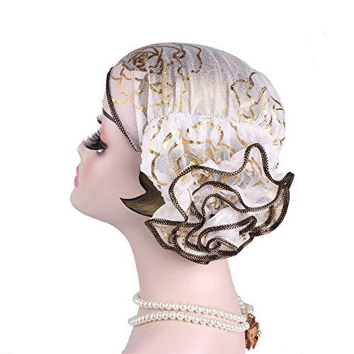 Pérdida de cabello Turban Turban Hat Pañuelo en la cabeza sombreros de las mujeres Accesorios Sombreros for cualquier ocasión Sra Belleza dorado Placa sombrero de la flor Tapa de bufandas de Headwrap