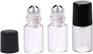 25 Pcs Clear Glass Mini Roll On Bottles Empty Essential Oil Roller Ball Bottles Perfume Lip Blam Cosmetic Sample Vials Roller Glass Bottles Container With Black Cap (2ml)