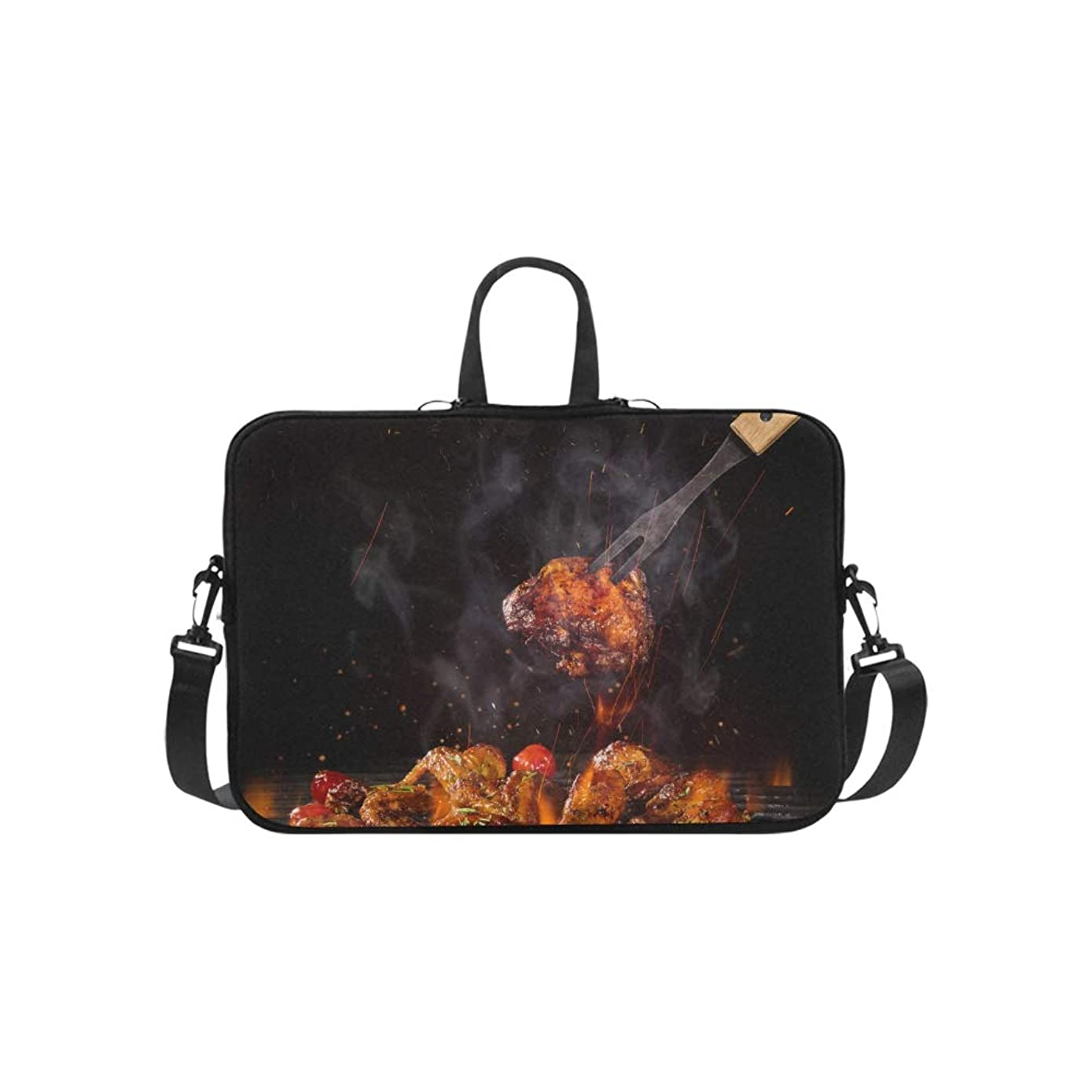 Roast Chicken Wings and Spices Pattern Briefcase Laptop Bag Messenger Shoulder Work Bag Crossbody Handbag for Business Travelling