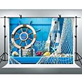 Nautical Background FHZON 7x5ft Blue Wooden Plank Fishing Net Summer Party Photo Backdrop for Kids Adults Travel Birthday Wedding Party Decor Banner BJYYFH278