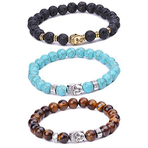 Unendlich U Unisex Buddha Armband, Zen-Buddhismus Legierung Armreif, EnergieStein Kugeln Perlen Gebet Mala Stretch Energiearmband, Braun/Blau/Schwarz(Lavastein)
