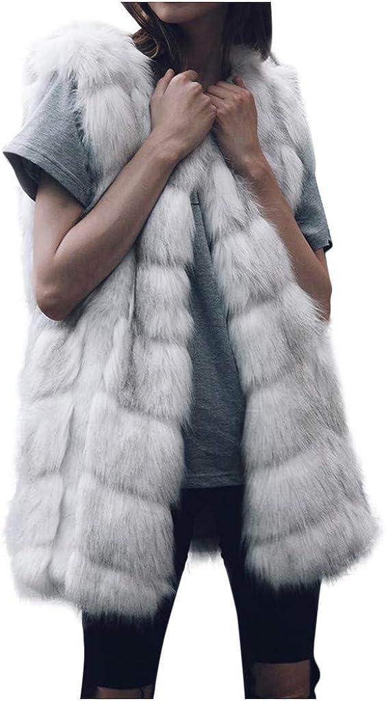 LEXUPA Women Faux Fur Coat Elegant Thick Warm Fashion Outerwear Long Fake Fur Jacket Gray