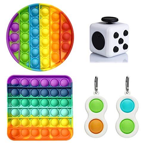 ZPPLD 5 Pezzi Sensory Fidget Toys Set, Push Pop Bubble Fidget Sensory Toy, Simple Dimple Fidget Toy, Fidget Cube Toys, Allevia Lo Stress E l ansia, Adatto per l interazione Genitore-Figlio