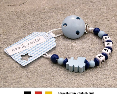 kleinerStorch Baby SCHNULLERKETTE mit Namen - Schnullerhalter mit Wunschnamen - Jungen Motiv Lokomotive in Babyblau