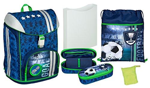 Scooli FCPR7552AZ - Schulrucksack mit Heftbox, Turnbeutel, Regenschutzhülle und Schlamperbox, leicht, ergonomisch, Football, 5 teilig