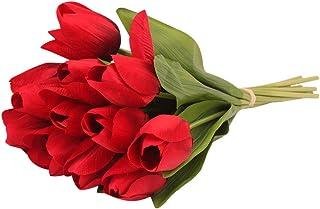 12pcs tulipán Flor Artificial de látex Real Nupcial Boda Ramo decoración del hogar Flores de Artificial Falso Verdadero Ramo para el Banquete de Boda en casa decoración al Aire Libre Jodier