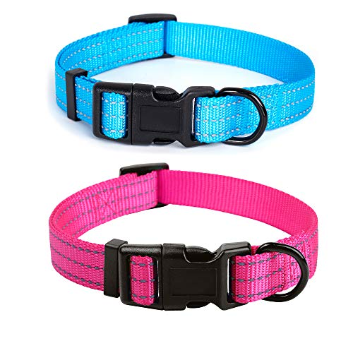 Mile High Life | Dog Collar | Nylon Thick Fabric | with Reflective Straps Three Line | 2 Pack Hot Blue/Pink, Large Neck 15'-19' -55 lb