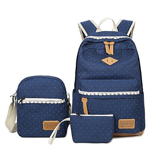Neuleben Schulrucksack + Schultertasche + Geldbörse 3 Set aus Canvas für Mädchen Damen (Blau)