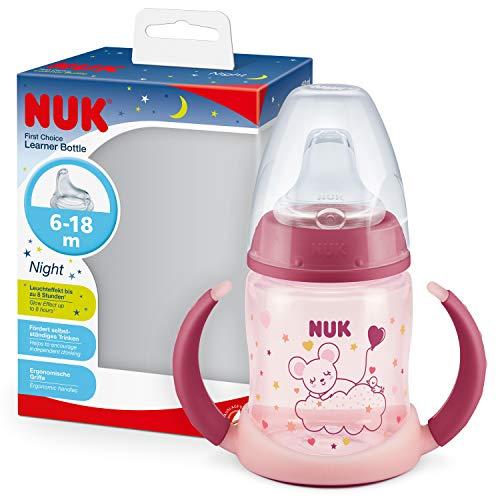 NUK First Choice+ - Biberón para aprender a beber (6 – 18 meses, 150 ml, válvula anticólicos, boquilla antigoteo, efecto luminoso, asas ergonómicas, sin BPA, color rosa