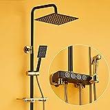 BINGFANG-W Montado en la pared Mezclador de ducha Negro, montado en la pared grifo de la ducha al aire libre lluvia mezclador de la ducha Conjunto completo, con spray Ducha