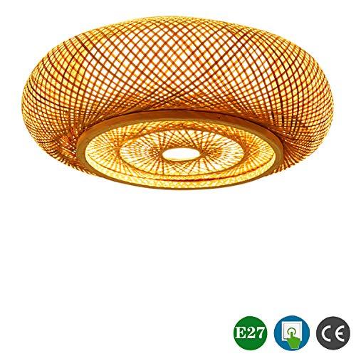 Vintage Deckenleuchte Holz Schlafzimmer Lampe Bambus Deckenlampe Retro Rattan Runde Wohnzimmerlampe Handgemachte Schirm 3-flammig E27 Max. 40W Geeignet für LED Leuchtmittel, für Esszimmer Büro Licht