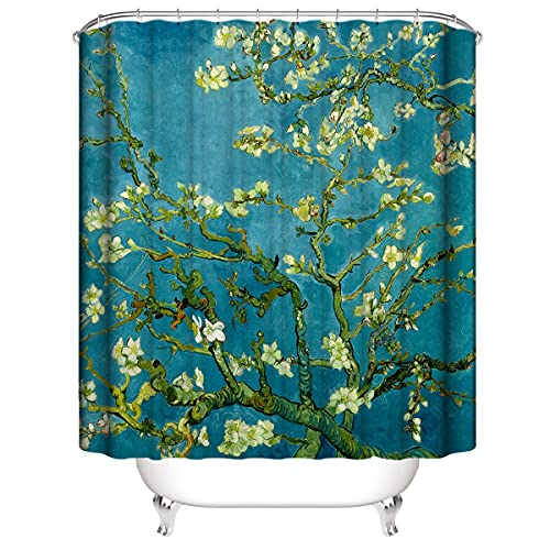 SUGOO 3D Duschvorhang Badezimmer Gardinen 100prozent Polyester Van Gogh Malerei Mit gewichtetem Saum &12 Haken 3D Digital gedruckt Waschbar Dekorativer Duschvorhang Vorhang 180 * 180cm