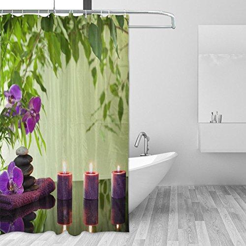 cpyang Nachricht Polyester-Stein Kerze Blume Bambus-Vorhänge Dusche Wasserdicht und Schimmel beständig für Badezimmer Dekoration Mit 12Vorhang Haken 182,9x 182,9cm