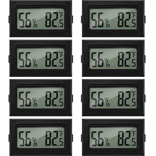 8 unidades mini higrómetro termómetro digital Fahrenheit temperatura humedad medidor indicador pantalla LCD termómetro interior higrómetro para incubadoras de reptiles invernadero y oficina