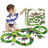 VCOSTORE Dinosaurier Rennstrecke Auto Spielzeug Set, 269 Stück Flexible Bahngleise Spielset mit Dinosaurier für 3 Jahre und älter