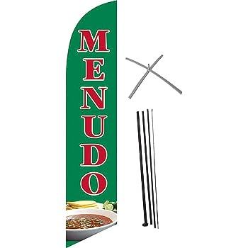 MENUDO Bandera de Pluma, Bandera Publicitaria Mastil y X Base Para Cemento, Feather Flags, Bandera tipo Pluma, Flag Banner