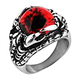 HZMAN Vintage Gothic Biker Scorpion Red Evil Devil Eye Skull Stainless Steel Ring (8)