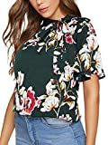 SheIn Women's Casual Side Bow Tie Neck Floral Short Sleeve Blouse Shirt Top Medium Floral Green