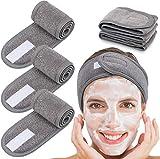Eagool 3 diademas faciales para spa, autoadhesivas, 3 colores, toalla elástica con cinta mágica para yoga, deporte, lavado facial, lavado facial, 3 unidades