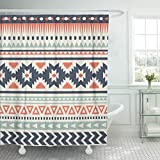 JOOCAR Design Duschvorhang, blaues Azteken-Ethnisches Muster, rote Indianer-Streifen abstrakt, wasserdichter Stoff, Badezimmer-Dekor-Set mit Haken