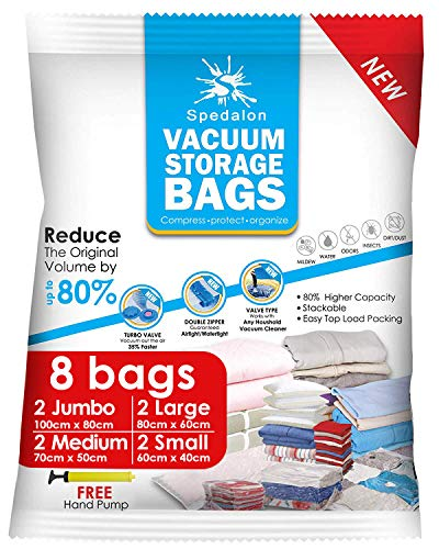 Vacuum Storage Bags - Pack of 8 (2 Jumbo + 2 Large + 2 Medium + 2 Small) Reusable with Free Hand Pump for Travel Packing. Best Sealer Bags for Clothes, Duvets, Bedding, Pillows, Blankets, Curtains