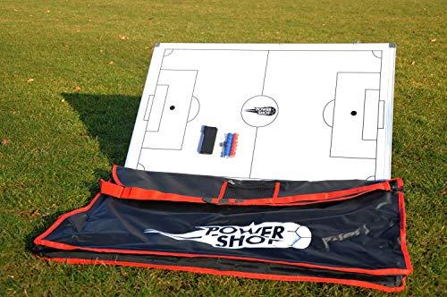Netsportique POWERSHOT Lavagna Magnetica Calcio Completa di Tutti Gli Accessori - 3 Dimensioni Disponibili (Lavagna + Borsa (60 x 90cm))