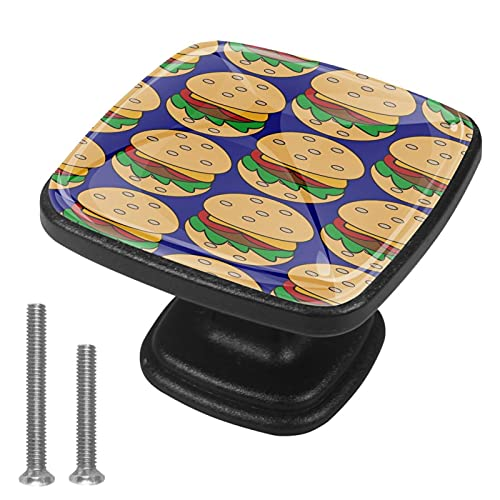 Perillas de gabinete 4 pcs Round Knobs Knobs Tiradores de puerta de de con tornillos para la cocina de cajón de gabinete,hamburguesa