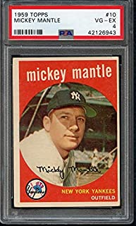 1959 Topps #10 Mickey Mantle Yankees PSA 4 VG-EX 367668 Kit Young Cards