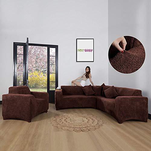 Mixibaby Eck Sofabezug Sofahusse Sesselbezug Sitzbezug Sesselüberwurf Sofahusse Wellsoft, Farbe:braun