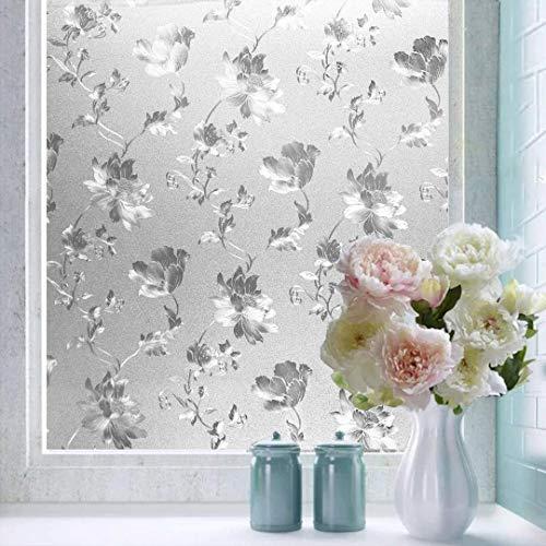 Shackcom Fensterfolie Selbsthaftend Blickdicht Sichtschutz Sichtschutzfolie Statisch Haftend Anti-UV Dekorfolie für Bad Küche Büro Zuhause - 90x200CM Z005