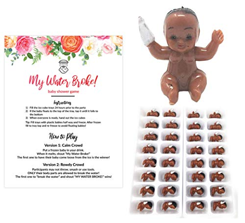 My Water Broke Baby Shower Game with Mini Plastic Babies for Ice Cubes, 32 People Red Floral Design (African American)