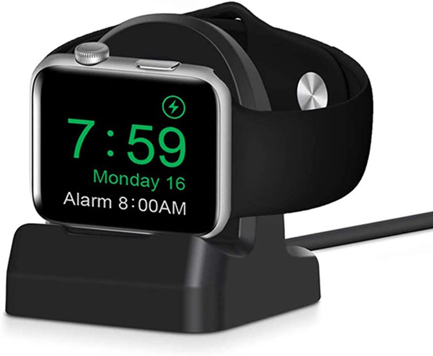 Wireless Charger Charging Dock Stand Holder for Apple Watch Series 4 (2018)   Series 3   Series 2   Series 1   44mm   42mm   40mm   38mm - [Scratch-Free Silicone] (Black)