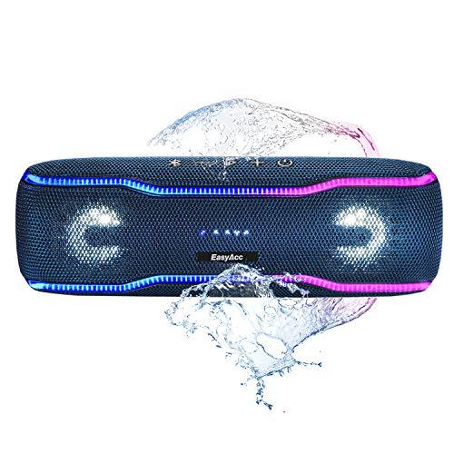 EasyAcc kabelloser Bluetooth Lautsprecher (IPX7 wasserdicht, 20W Laustprecher, eingebaute Mikrofon, Party Booster, mehrfarbige Lichtleiste, Lautsprecherbeleuchtung), tragbare Musik Box (Blau)