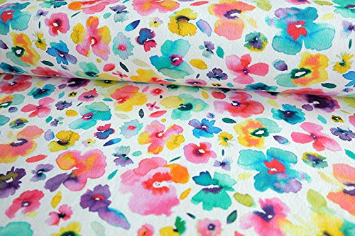Qualitativ hochwertiger French Terry, Sommersweat, Blumen (Veilchen) auf Weiß als Meterware zum Nähen von Baby, Kinder- und Damenkleidung, 50 cm