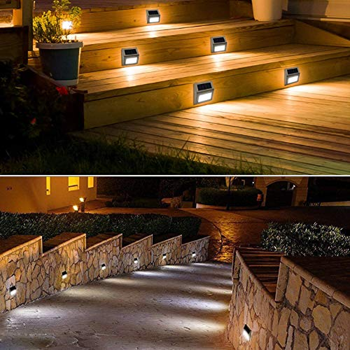 Outdoor Fence Lights,12 Pack Solar PoweredDeck Lights Waterproof Stairs Light Stainless Steel Security WallLamps for Step Walkway Patio Garden Pathway - Cool White