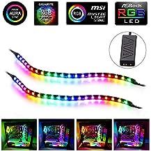 LED RGB PC Light Strip - Speclux Computer Magnetic Addressable LED Strip Kit, Motherboard with 5V 3pin RGB Header for Asus Aura, Asrock RGB Led, Gigabyte RGB Fusion, MSI Mystic Light (2 PCS 42 LED)
