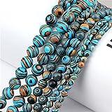 YSTSPYH Piedras Preciosas Artesanía DIY Dark Blue Malachite 8/6 / 4mm Perlas Sueltas Piedra Natural para la Pulsera Collar de joyería Que Hace Accesorios (Item Diameter : 8mm(45-48pcs))