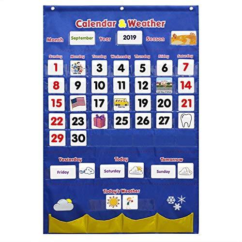 Godery Calendar and Weather Pocket Chart Classroom Organized Chart 149 Pieces