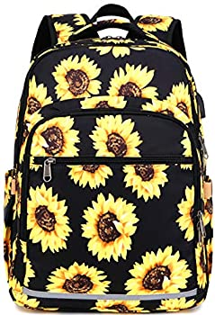 BLUBOON Backpack for Women 15.6 Inch Laptop Bookbag College School Backpack Girls Floral Schoolbag Compartment Daypack for Business Travel with USB Charging Port and Headphone Interface Sunflower